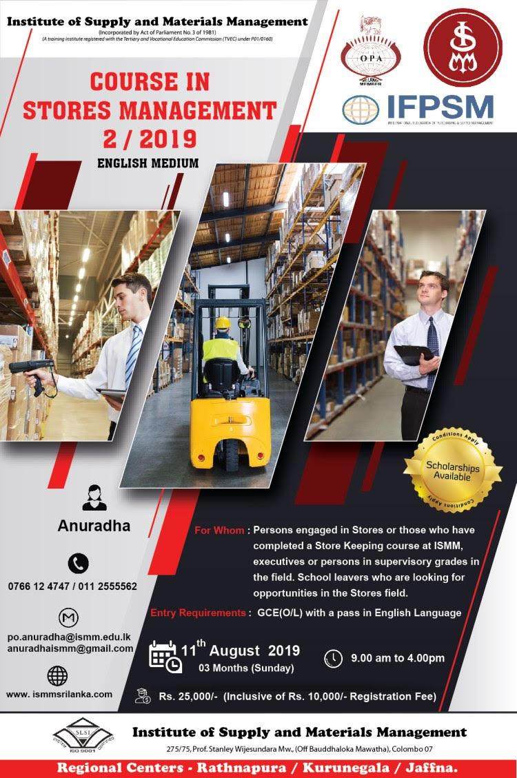 Course in Stores Management 2/2019 – ENGLISH MEDIUM